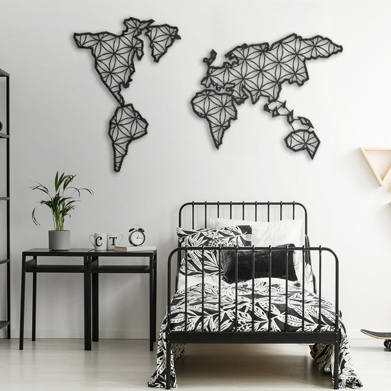 Liv Metal World Map Metal Wall Decor Metal Wall Art Steel | Etsy