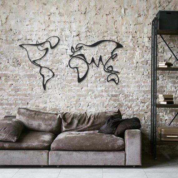 Verden Carte Du Monde Metal Decoration Murale En Metal Art Etsy