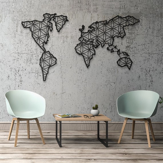 Carte Du Monde Carte Du Monde Decoration Murale En Metal Etsy