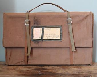 Rare Vintage WW2 Era Canvas Mail Bag Utility Bag