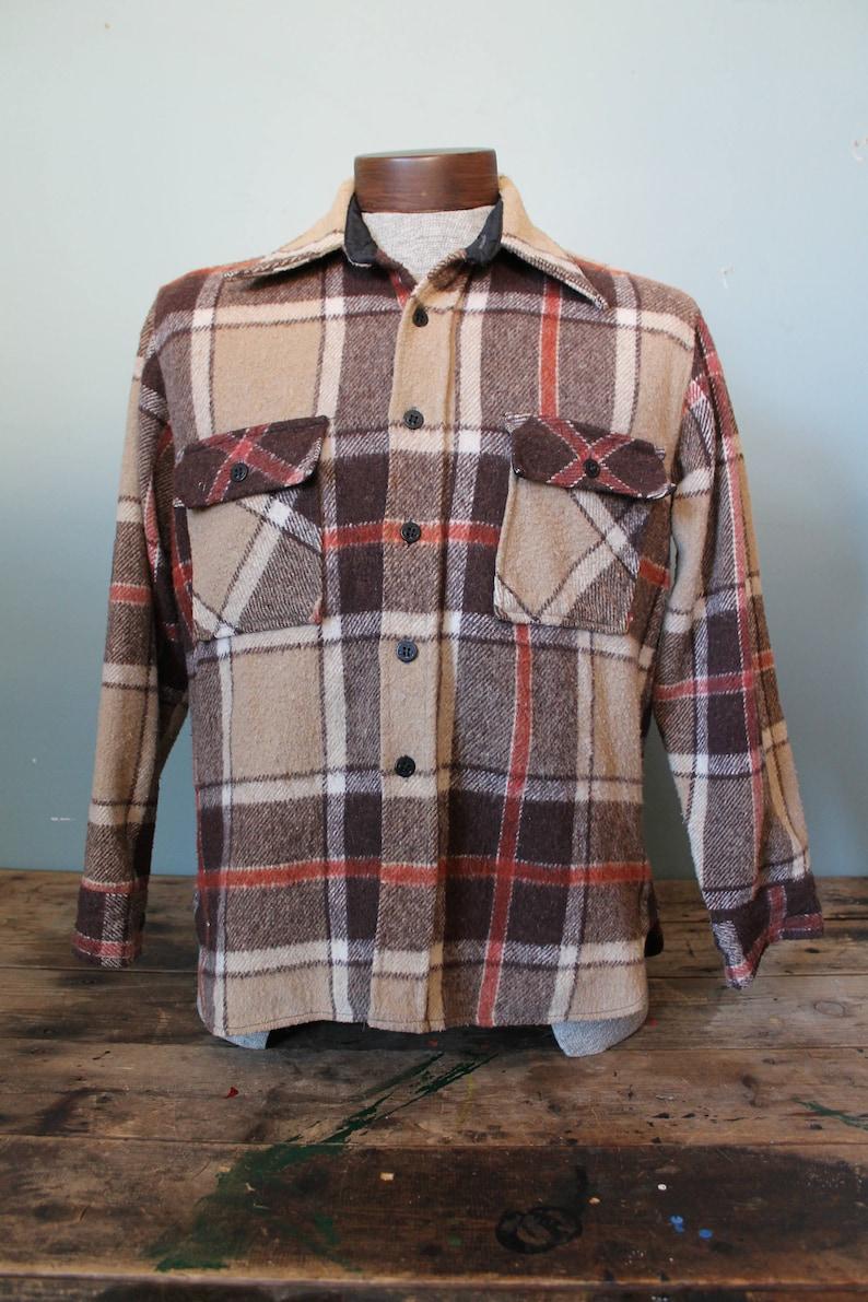 CPO Jacket Vintage 100/% Wool Flannel Shirt Size Medium Thick Camping Shirt