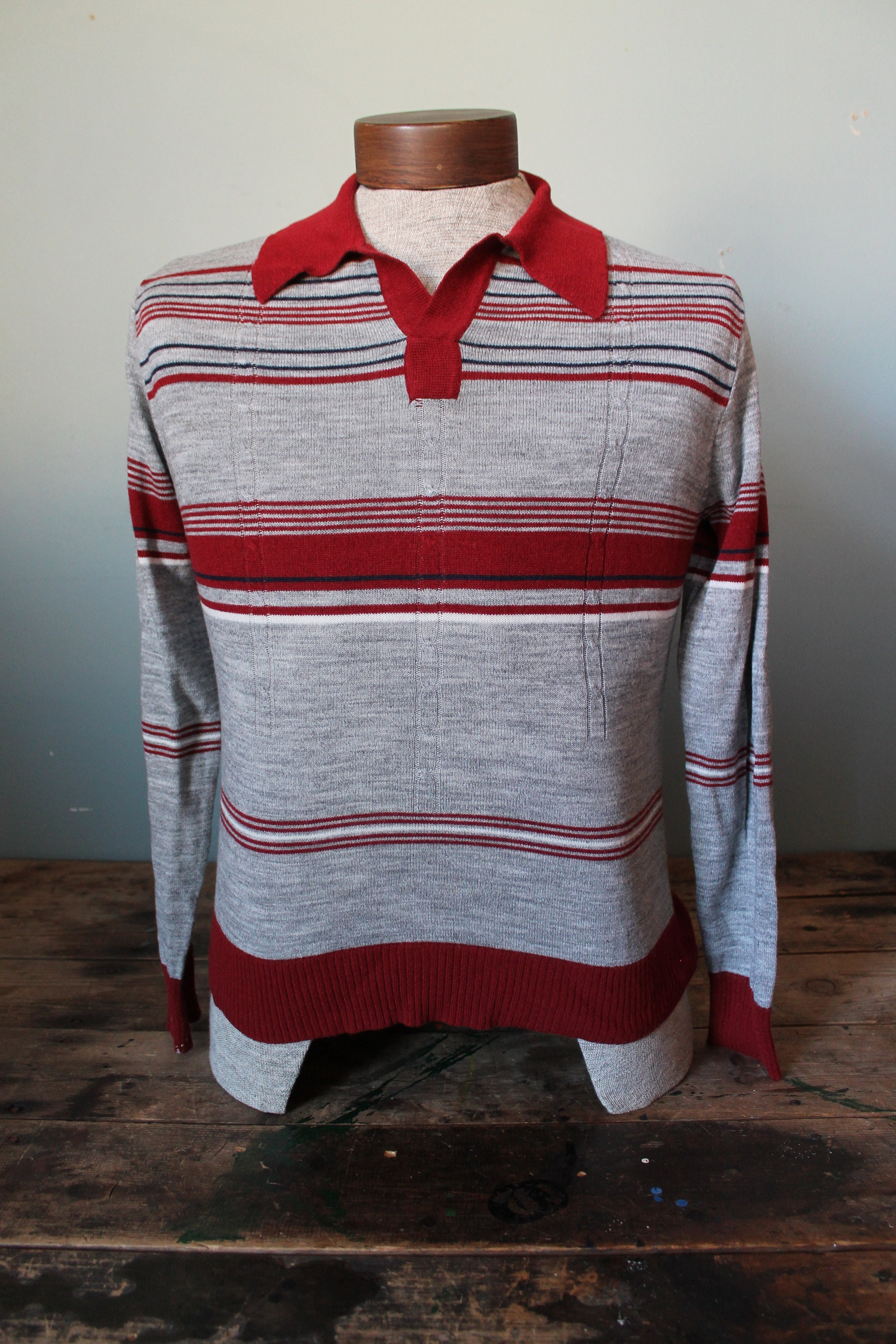 Un Taille Vintage Pull Polo Shirt Taille Un Small Medium Fin