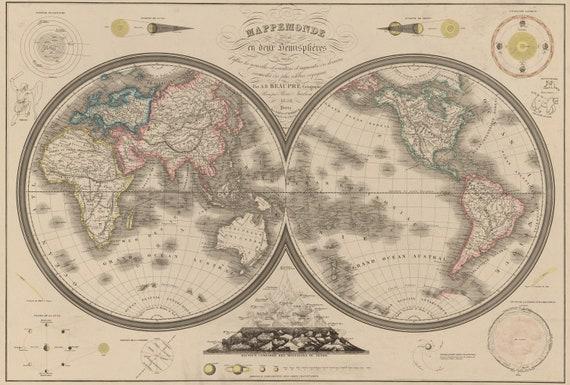 Mappemonde Divisee En Deux Hemispheres Circa 1850 Etsy