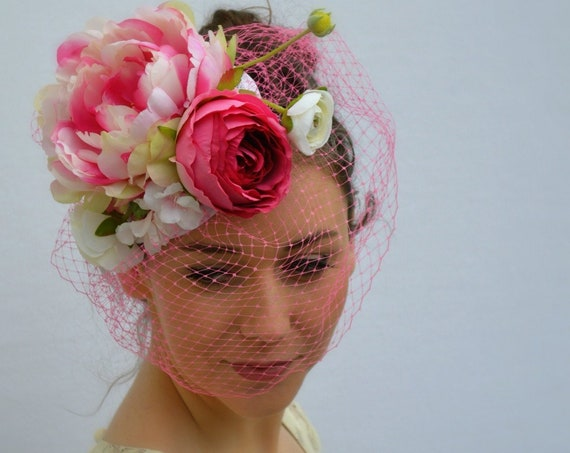 SUMMER GARDEN Fascinator - Pink Melbourne Cup Hat | Saratoga Hat | Kentucky Derby Hat | Royal Ascot Hat | Wedding Guest hat