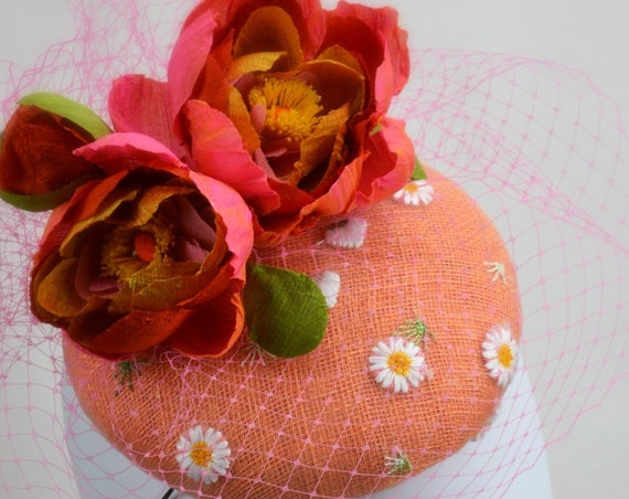 MARGUERITE Pink and Coral Fascinator - Mother of the Bride or Kentucky Derby hat.  Womens famous hat luncheon or afternoon tea fascinator