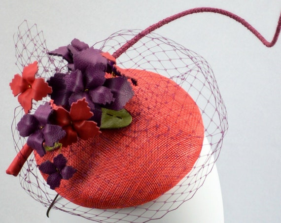 SOHO Coral and Plum Kentucky Derby Hat. British Royal Ascot, Preak & DelMar fascinator. Coral Mother of the Bride Wedding or Shower Hat.