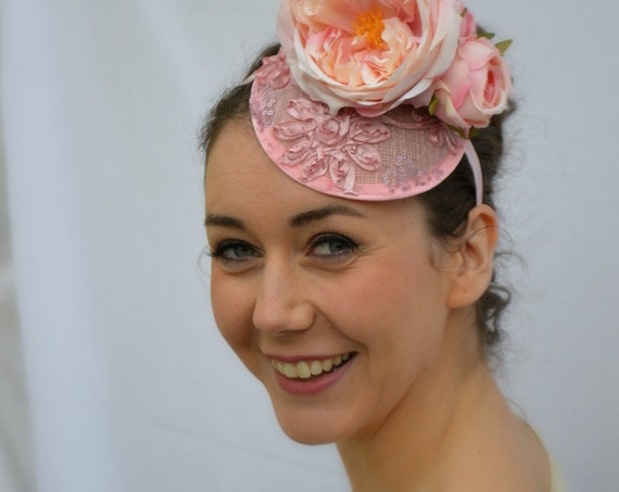PERFECTLY PINK Fascinator | Mother of the bride Hat | wedding guest fascinator | Kentucky Derby Hat | Pin Up Girl Style | Kentucky Derby Hat