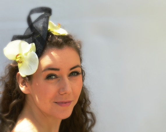 MODENA Black Fascinator.  Wedding guest hat, Saratoga Kentucky Derby Del Mar Melbourne or British Royal Ascot races, fancy black  headband