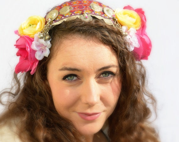 FANTASY GYPSY FUSION Pretty headpiece with vintage bells and decorations, BoHo Statement Headpiece handmade by Jaine
