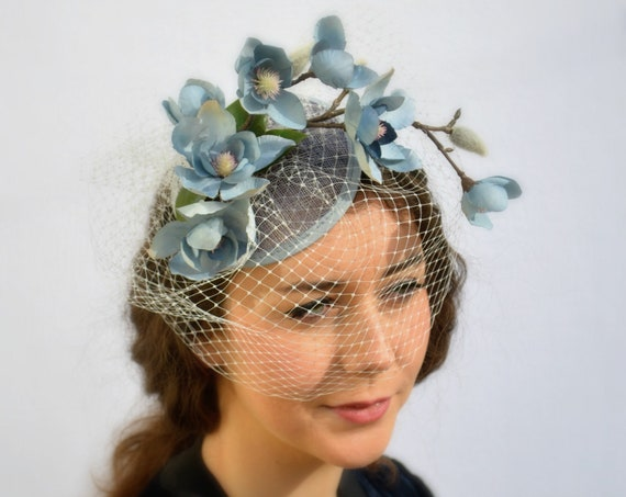MOONLIGHT GREY FASCINATOR womens hat Kentucky Derby hat, Saratoga or British Royal Ascot, Wedding guests and garden parties,fancy church hat