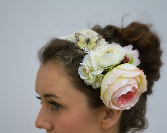 FREE SPIRIT headpiece with silk butterfly and charming vintage style flowers.  Statement Headpiece handmade by Jaine