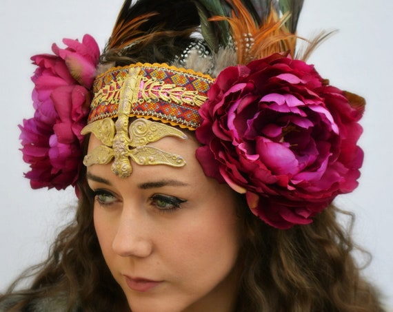 GYPSY FUSION Festival Headdress   Alternative Parades & mustic festivals   burning man fest   BoHo Statement Headpiece   Bohemian Headdress