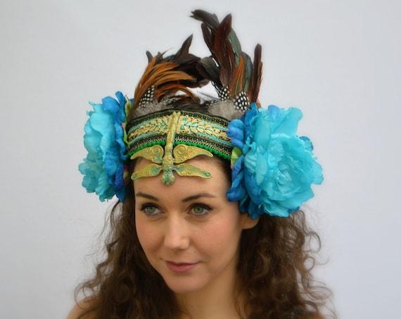 GYPSY FUSION Festival Headdress | Alternative Parades & mustic festivals | burning man fest | BoHo Statement Headpiece | Bohemian Headdress