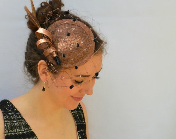 LONDON Fascinator in Chocolate/Coffee brown - Kentucky Derby Hat - British style hat on a headband perfect for Weddings and Garden Parties