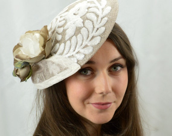 Ready to ship French Gray Kentucky Derby Saucer Hat.  Grey Famous Hat Luncheon Hat. Mother of the Bride. Racing Style fascinator