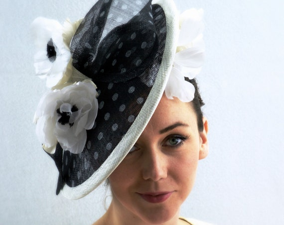 Ready to ship NEW YORK Black and White Spotted Kentucky Derby, Melbourne Cup or Royal Ascot Hat. Famous Hat Luncheon. Tea Party Fascinator.