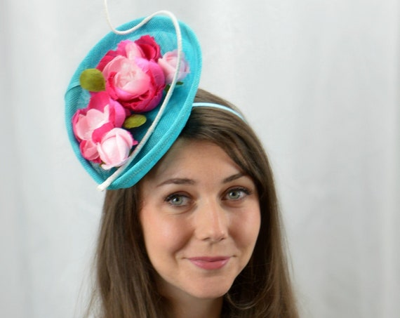 Ready to Ship PORTOFINO Turquoise and Pink Kentucky Derby Hat. British Royal Ascot, Preak & DelMar Turquoise Mother of the Bride Fascinator