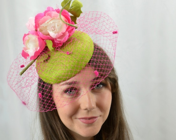 Ready to ship CHIC Pink & Green Fascinator - Mother of the Bride or Kentucky Derby hat.  Womens famous hat luncheon or afternoon tea