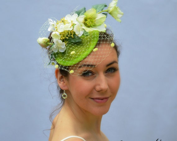 DUBLIN FASCINATOR | Womens Church Hat | Kentucky Derby, Saratoga, Del Mar & British Royal Ascot Fascinator | Wedding Guest and Tea Party Hat