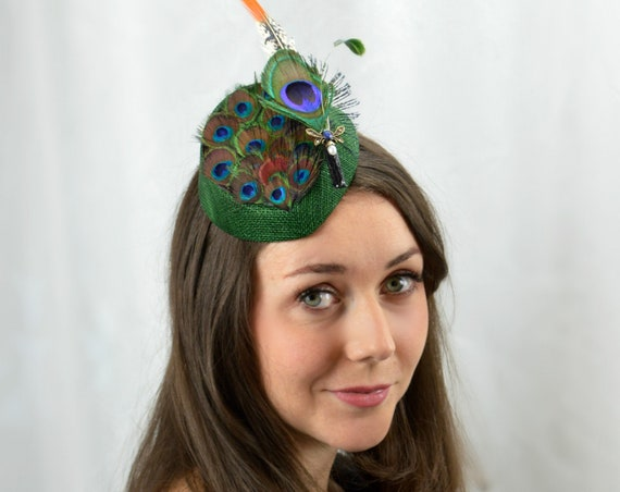 HIGHLAND Emerald Green and Peacock Feather Fascinator for Country House Weddings or Afternoon Tea Parties.   Kentucky Derby or Royal Ascot