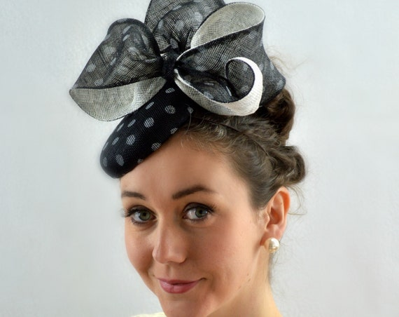 Ready to ship WHIMSY Black and White Kentucky Derby Fascinator. Black/White famous hat luncheon or Afternoon tea hat, Wedding Bridal Shower