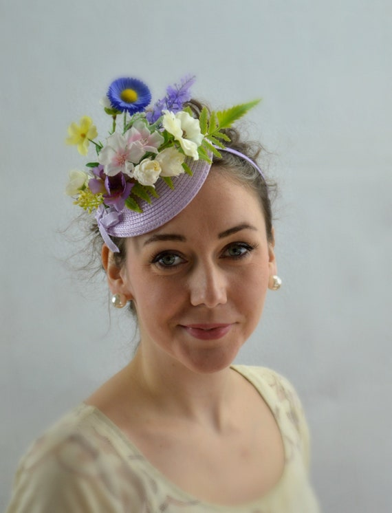 Ready to ship GARDEN PARTY Fascinator | LILAC Kentucky Derby Hat | Flowery Tea Party Hat | Lilac Garden Party headband | Lilac Wedding Guest