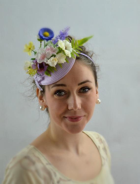 GARDEN PARTY Fascinator | LILAC Kentucky Derby Hat | Flowery Tea Party Hat | Lilac Garden Party headband | Lilac Wedding Guest Fascinator