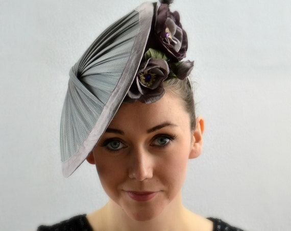 MILAN - Mauve Gray silk Kentucky Derby Hat for women. New York Famous Hat Luncheon Hat, Grey Royal Ascot Fascinator, Mother of the Bride Hat