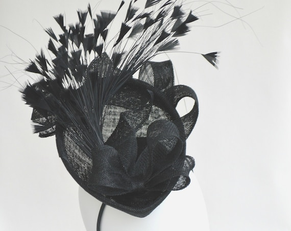 FEMME FATALE - Womens Black Kentucky Derby Hat.  Sophisticated Black British Royal Ascot Percher Fascinator.  Black and Feather Event Hat.