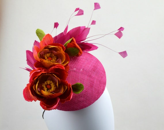 MONACO Hot Pink and Coral Kentucky Derby Hat. Fuscia and Orange British Royal Ascot fascinator. Cerise Central Park Luncheon Percher Hat