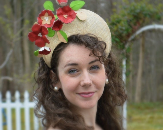 CHELSEA Leather Flowers in Red and Beige - Crown Style Fascinator.  Red Kentucky Derby Halo Hat, Red Wedding Fascinator, Red Ascot Headpiece