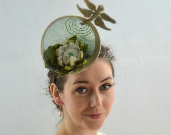 LILY PAD with Dragonfly.  Green Kentucky Derby, Preak or Del Mar Race Day womens Hat. Central Park Famous Hat Luncheon fascinator headpiece
