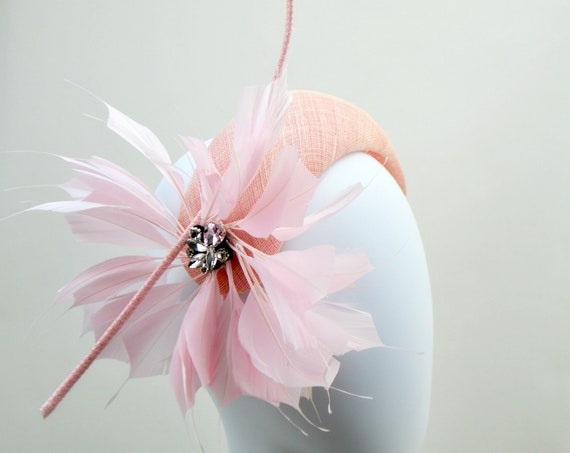 JAZZ - PINK Bandeau style fascinator with feathers,  light pink Kentucky Derby crown hat, Ballerina Pink Crescent Moon Ascot Headpiece