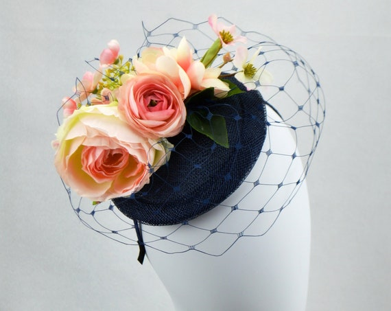 Navy and Pink Kentucky Derby Hat | Navy Afternoon Tea Party Hat | British style wedding guest fascinator | Pink and Blue Bridal Shower Hat