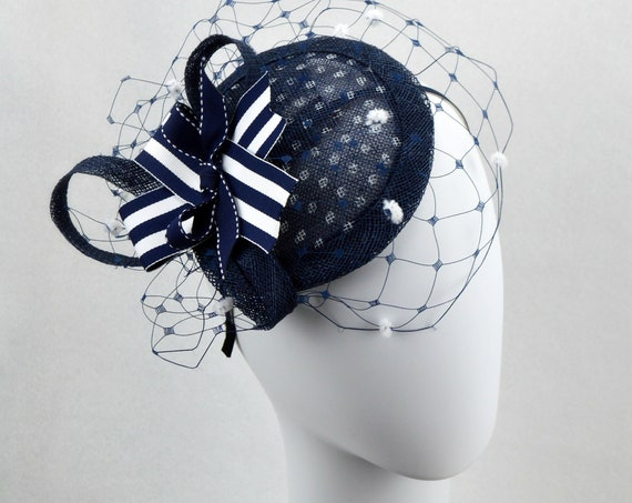 Ready to ship NAUTICAL Fascinator Hat, Kentucky Derby Hat, Navy womens fascinator, Navy Pin Up Girl Style hat, Vintage look, Yacht Rock Hat
