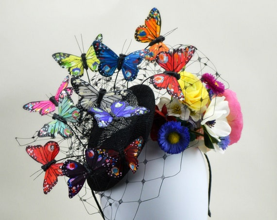 RAINBOW BUTTERFLY FASCINATOR - Womens Kentucky Derby Headpiece, Melbourne cup Belmont and British Royal Ascot, Festival Wear or Parade Hat!