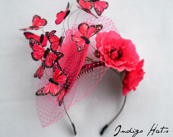 MAGICAL BUTTERFLY FASCINATOR Hat -Pink Pink Pink - British Royal Ascot, Kentucky Derby, Belmont and parades - handmade with care by Jaine.