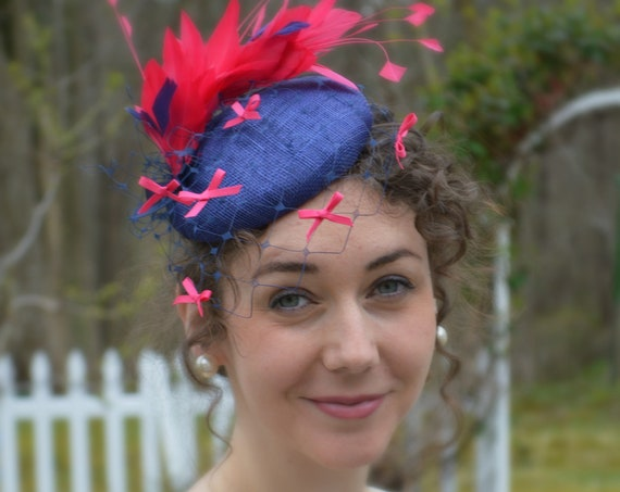 Ready to ship - FLOURISH Pink and Navy Kentucky Derby Hat, Preakness or, Royal Ascot fascinator,  Fuscia  Wedding or Shower Hat.