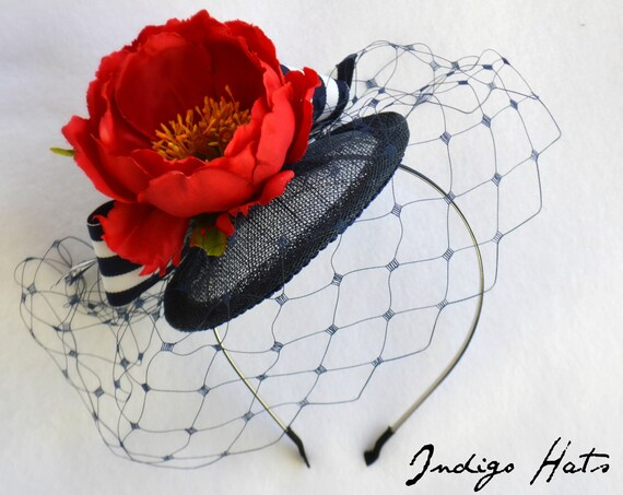 RIVIERA FASCINATOR NAVY blue | Womens Hat for Kentucky Derby Races | Wedding guest fascinator | Garden or Tea Party fascinator | handmade |