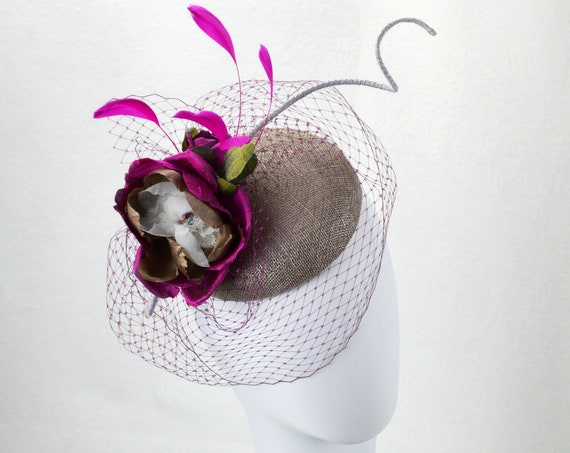 Mother of the Bride, Fuscia and Gray Fascinator.  Kentucky Derby ladies day hat.  Pink and grey famous hat luncheon or afternoon tea hat
