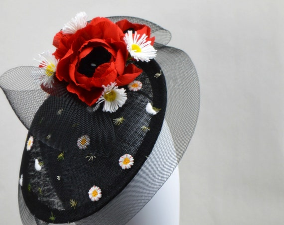 ROMA Hatinator - Black and Red Kentucky Derby Saucer Hat. British Royal Ascot Style. Wedding guest Hat.  Black Garden & tea party fascinate