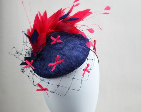 FLOURISH Pink and Navy Kentucky Derby Hat. British Royal Ascot, Preak & DelMar fascinator. Fuscia Mother of the Bride Wedding or Shower Hat.