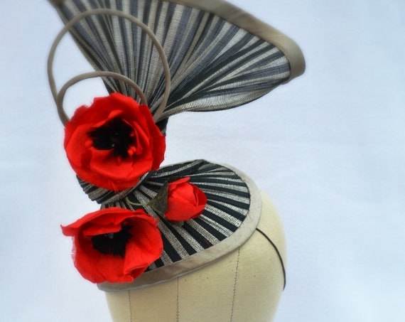 MET GALA  Sculptural Black and Red Statement Hat, Unique Silk Poppy striped fascinator for Kentucky Derby Races, Melbourne Cup & Royal Ascot