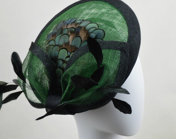 EMERALD CITY Kentucky Derby Saucer Hat, Green & Black New York Famous Hat Luncheon Hat.  Polo or British Royal Ascot Style Hatinator
