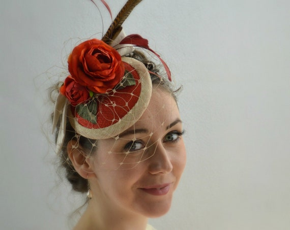 SEVILLE  Fascinator | Orange Kentucky Derby races Hat | Wedding Guest Fascinate | Orange Church Hat | Kate Middleton Tea Party Headpiece