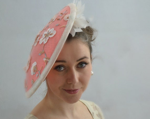 PEACHES & CREAM, Coral Melbourne Cup or Kentucky Derby Hat for women.  Mother of the Bride, NYC Conservancy Luncheon or Church fascinator.