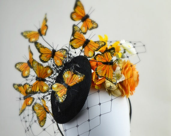 MAGICAL BUTTERFLY FASCINATOR Hat - Kentucky Derby, Belmont or Royal Ascot Racedays, garden parties & Parades! - handmade with care by Jaine