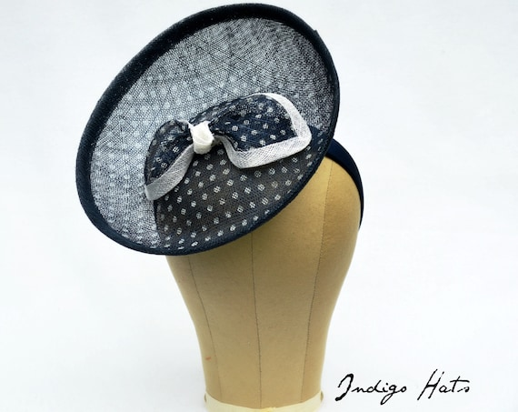 Navy Polka Dot Percher -   Kentucky Derby or British Royal Ascot Saucer Hat, Wedding guest hat, Garden or Tea Party Vintage look Fascinator