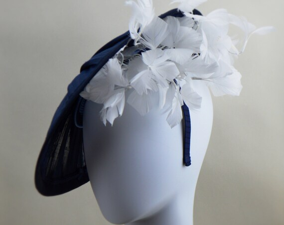Navy & White Kentucky Derby Saucer Hat for Women, Navy Blue Royal Ascot Fascinator, Navy Mother of the Bride Hat with feathers