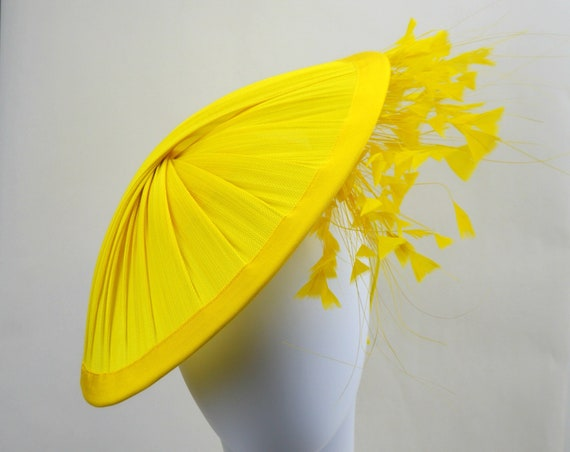 SUNSHINE -  Yellow Kentucky Derby Hat for women, Yellow Royal Ascot Saucer Fascinator, Yellow Mother of the Bride Hat with feathers